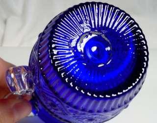 Vintage Pilgrim Cobalt Blue Glass Bennington Pitcher |