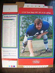 1979 Nalleys Chips Comp. Box Seattle Seahawks Tom Lynch