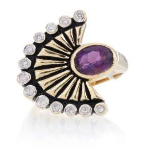 Antique Victorian Amethyst Diamond Gold Ring Jewelry