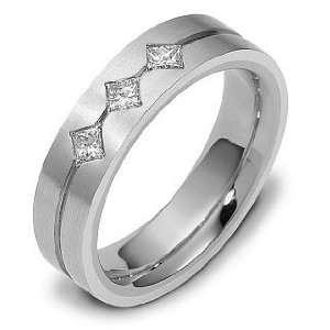 5.5mm Platinum 3 Diamond Comfort Fit Wedding Band Ring   5