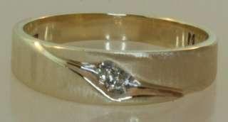 14k yellow gold .02ct diamond wedding band ring vintage estate antique