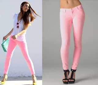 PINK STRETCH LADIES Skinny Pencil Jeans Denim Pants NWTs