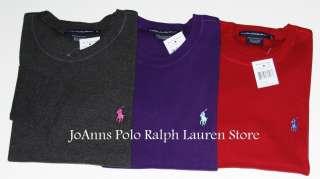 NEW POLO RALPH LAUREN WOMENS GRAY  PURPLE   RED LS SPORT PERFECT TEE T