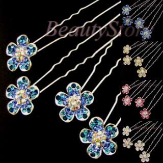 ADDL Item  Austrian rhinestone crystal flower hair pin