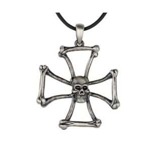 Bone Cross Skull Pendant   Pewter   1.25 Height Jewelry