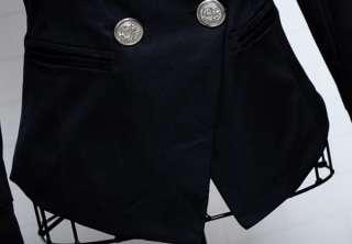 2011 NWT Trendy Korean Women Lapel Slim OL Suit Jacket Coat Black S M