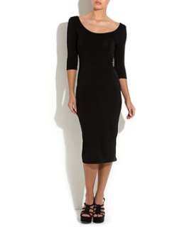 Black (Black) Black Body Con Midi Dress  253032401  New Look