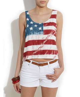 White (White) White American Flag Cropped Vest  254455310  New Look