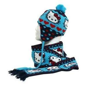 Hello Kitty Hearts Blue Red Beanie Hat Scarf Set SANCW0002