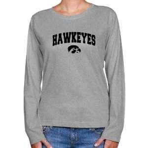 NCAA Iowa Hawkeyes Ladies Ash Logo Arch Long Sleeve Classic Fit T