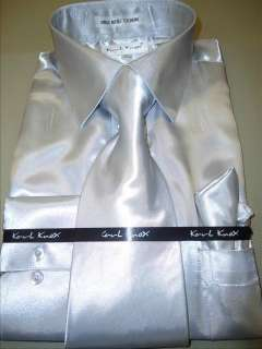 Mens Karl Knox Shiny Silver Gray Silky Satin Formal Dress Shirt Tie