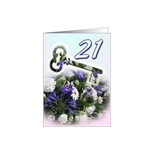 21st Birthday invitation   Key and blue bouquet Card: Toys