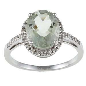 10k White Gold Oval Green Amethyst and Diamond Ring (1/10