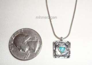 Rare Sterling Silver Opal Heart Pendant Necklace Didae Israel