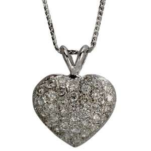 Platinum Pave Set Diamond Heart Pendant DaCarli Jewelry