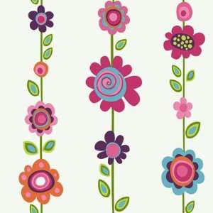 Floral Stripe Pink and Blue Wallpaper in Girl Power II