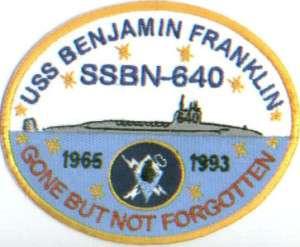 US NAVY SHIP PATCH, USS BENJAMIN FRANKLIN, SSBN 640 Y