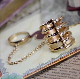 Fashion Chain Knuckle Connect Finger Crystal Ring