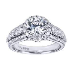 14K White Gold Contemporary Halo Engagement Ring  Does not Include The