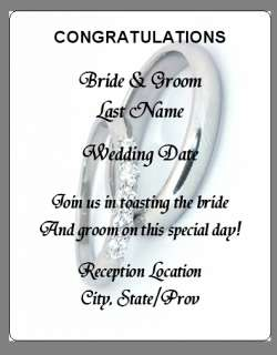 Silver Wedding Rings Custom Reception Wine Labels