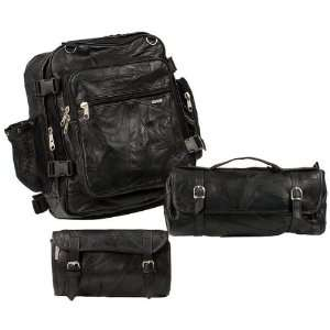 3 Piece Leather Motorcycle luggage Automotive