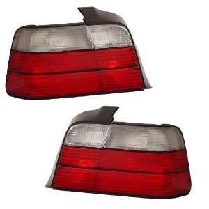 1992 1998 BMW E36 3 Series 4D KS TL Red/Clear Tail Lights