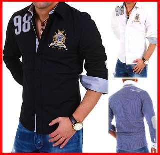 CARISMA Hemd mit Patches Slim Fit Polo Hemd Shirt Schwarz/Weiß/Navy
