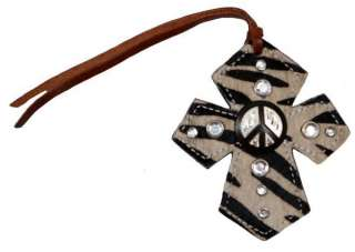 Tie On Leather Cross w/Zebra Hair & Peace Sign Concho