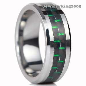 New Tungsten Black & Green Carbon Fiber Ring size 8 13
