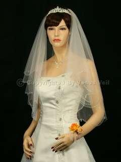 2T Ivory Wedding Bridal AB Crystal Beaded Scallop Veil