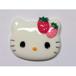 Strawberry Bow Kitty Cat Large Flat Back Resin Appliques