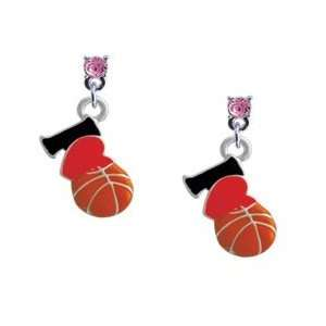 Love Basketball   Red Heart Light Pink Swarovski Post Charm Earrings