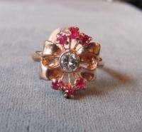 Vintage Retro Modern Art Deco 14K Diamond Ruby Ring