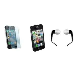 for iPhone 4 w/ Black Rubberized Hard Case & Black Earbud Headphones
