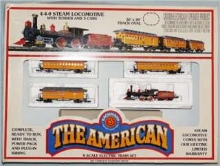 Bachmann N Scale   The American Train Set w/4 4 0 Locomotive/3 cars