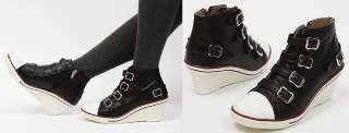 Womens Black White Buckle High Top Sneakers Zip Wedge Heel Shoes US 5
