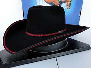 Resistol Cowboy Hat 4X Beaver Fur Felt Black Red Rock Bound