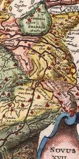Antique Map,Netherlands,Belgium,LION SHAPE ,Strada,1648