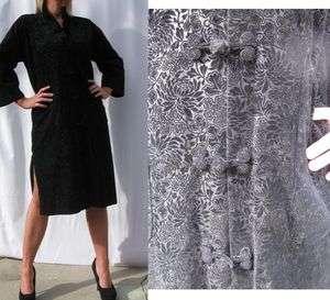 Vtg 60s Black BURNOUT VELVET KIMONO Duster COAT JACKET DRESS Gypsy