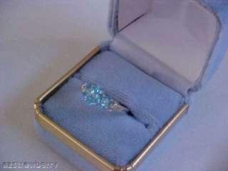 25 CTW BLUE TOPAZ & DIAMOND WHITE 14K GOLD RING SZ 6