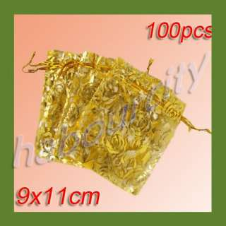 100 Organza Jewelry Gift Pouch Wedding Bags 9x11cm New