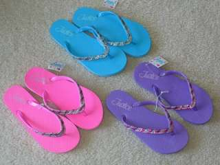 NWT JUSTICE GIRLS ONE (1) PAIR SPARKLY STRAP FLIP FLOPS BLUE PINK