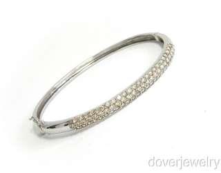 Estate 3.88ct Diamond 18K White Gold Cluster Bangle Bracelet NR