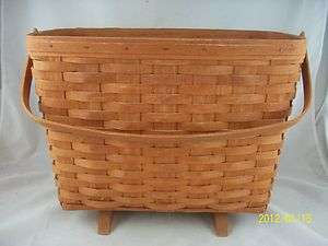 Longaberger 1987 Magazine Basket w Feet
