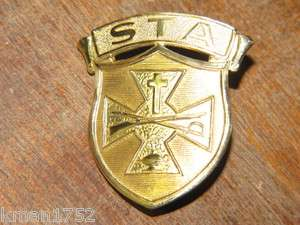 Original Vintage US Army ROTC St. Thomas Military Academy hat badge