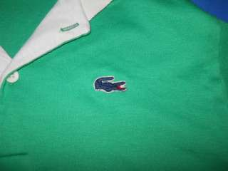 IZOD LACOSTE LONG SLEEVE GREEN BLUE GATOR RUGBY POLO SHIRT 20 YOUTH XL