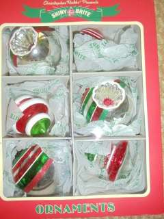 Christopher Radko Shiny Brite Glass Christmas Tree Ornaments NEW