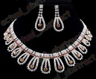 rhinestone bridal necklace earring 1SET brown clear