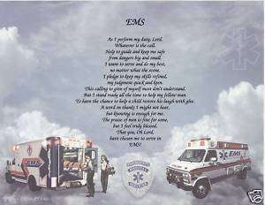 EMS Poem Prayer Personalized Print Name EMT Paramedic