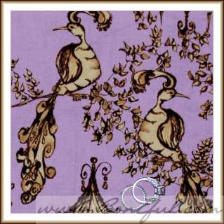 BOOAK Fabric Tina Givens *Purple *Brown Gold Peacock Birdhouse Bird